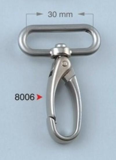 8006 Карабин 3 см цв.никель ТУРЦИЯ