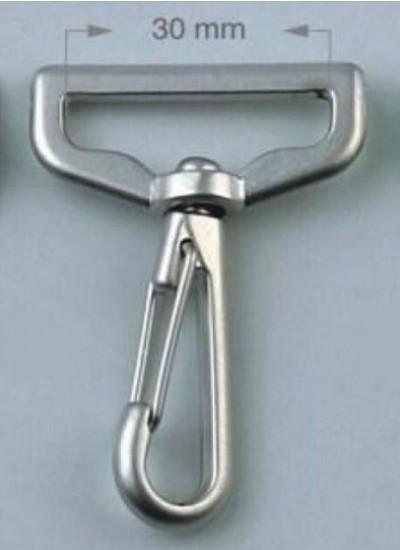 8037 Карабин  3 см цв.никель ТУРЦИЯ