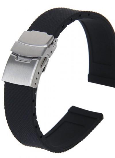 """Ремешки для часов """"Силиконовые"""" №10 (размер 22мм) Черн."""